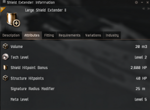 large shield extender II attributes